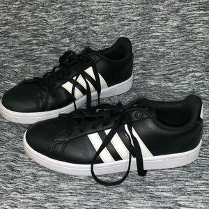 Black & White 3-Stripe Adidas